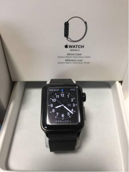 美品 Apple Watch series 2 ブラックステンレススチール 38mm ミラネーゼループ おまけ付き_画像2