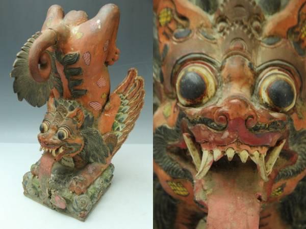 時代チベット木彫彩色獅子像 寺社仏閣 仏教美術 A206