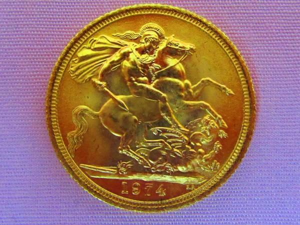 エリザベス女王訪日記念 ソブリン金貨 K22 8g_画像2