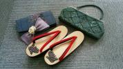 ◆鎌倉彫の下駄◆ビーズバック◆大島紬の財布◆麻の珍しいバレッタ◆おまとめ◆