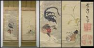 《QP》江戸中期絵師 伊藤若冲 肉筆「罌粟雌鶏図・雪中竹鶏図」絹本極彩色双幅 牙軸 二重箱