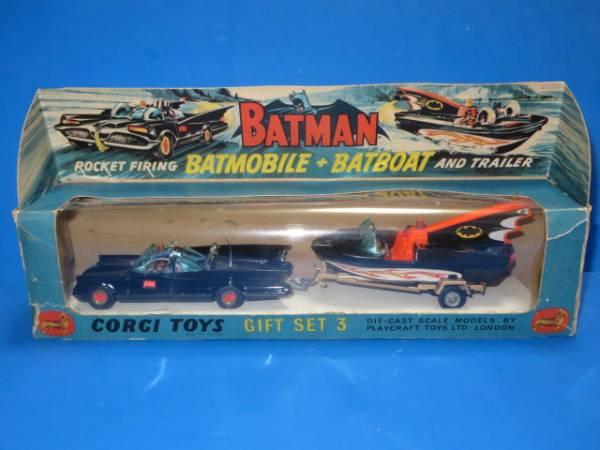 初期版 コーギー  ギフトセット3  バットマン  BATMOBILE & Batboat  バットモー