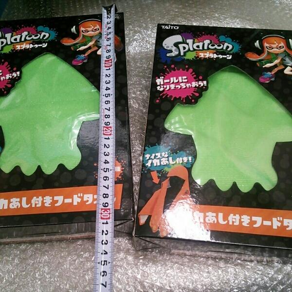 送安 スプラトゥーン イカ あし付き フード タオル 緑 2セット グッズの画像