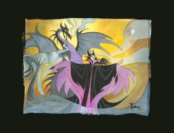 Disney Fine Art ディズニーファインアート 眠れる森の美女 マレフィセント 限定 レア Toby Bluth ディズニーグッズの画像