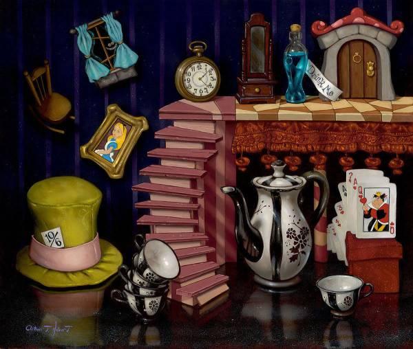 Disney Fine Art ディズニーファインアート ふしぎの国のアリス 限定 レア チェシャ猫 白うさぎ ハートの女王 Clint Hobart