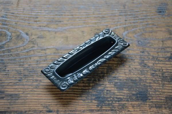 NO.3219 古い真鍮のブロンズ装飾角形引手 122mm 検索用語→A50gアンティークビンテージ古道具真鍮金物扉ドア引戸引き戸取手_画像1
