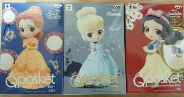 【新品未開封】qposket ディズニー ベル シンデレラ 白雪姫 パステル 3体セット ディズニーグッズの画像