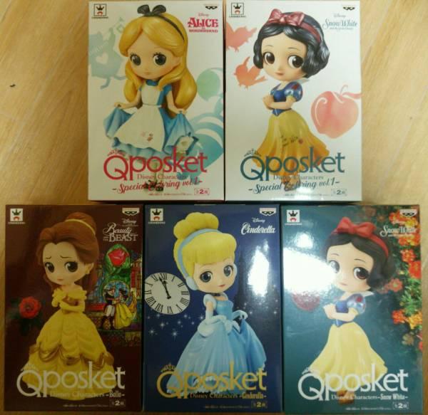 【新品未開封】qposket アリス 白雪姫 ベル シンデレラ 白雪姫 ノーマルカラー 5種セット ディズニーグッズの画像
