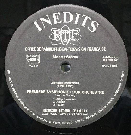 LP INEDITS:タバシュニク オネゲル/交響曲第1番 勝利のオラース 交響的楽章第3番_画像3