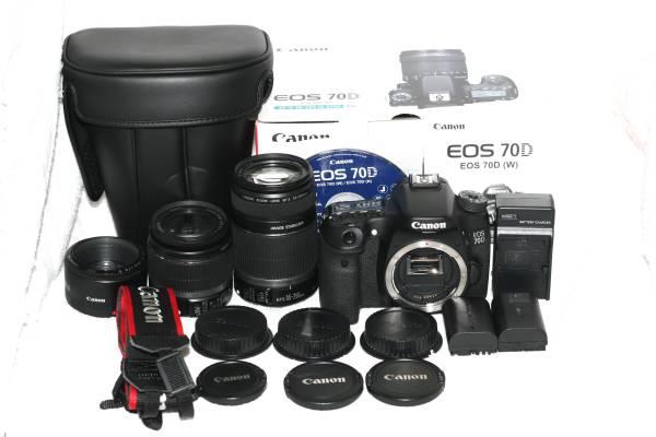 【箱 取説付】Canon キヤノン EOS 70D 純正 IS 手振れ 単焦点 トリプルレンズ