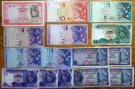 世界の紙幣【マレーシア】10~1リンギットの8種 十六枚 流通品 一円~
