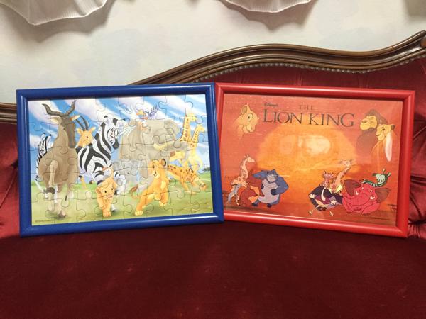 2点set ライオンキング パズル 完成品 額 フレーム 絵 絵画 ディズニーグッズの画像