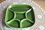 ベルギー アンティーク BOCH 深緑色のフォンデュ皿 四角 仕切り付き皿 ランチプレート