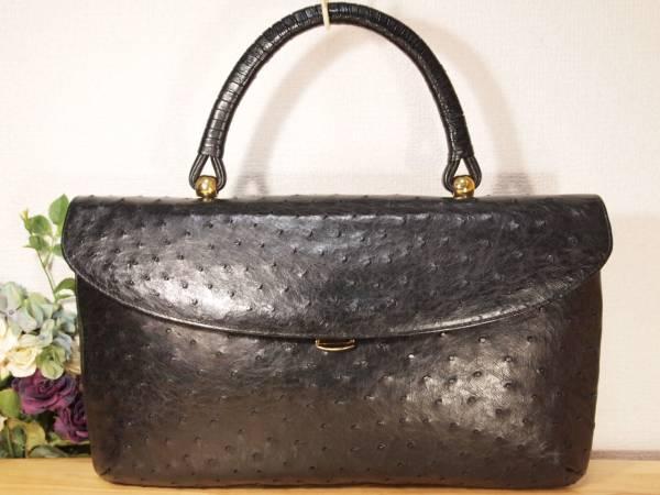 極美品 本物 オーストリッチ 高級ハンドバッグ 伊製 黒 (検 濱野 IBIZA 駝鳥 ダチョウ