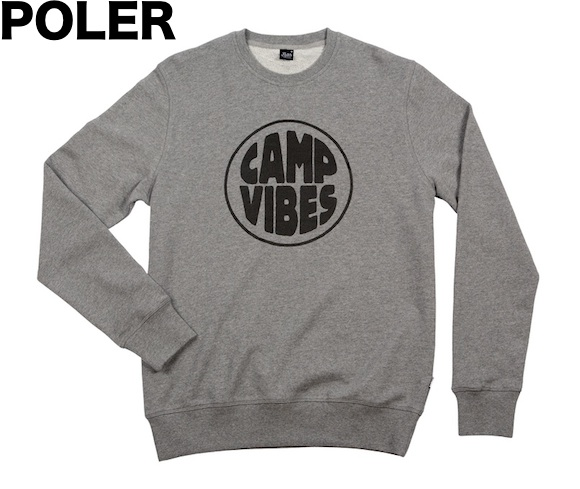 Poler Pop Top Crewneck Sweatshirt Grey Heather S