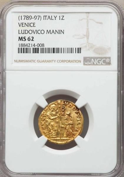 ★ 1789 -1797 イタリア ベニス ゼッキーノ 金貨 NGC MS62 ルドヴィーコ・マニン Zecchino ★_画像3