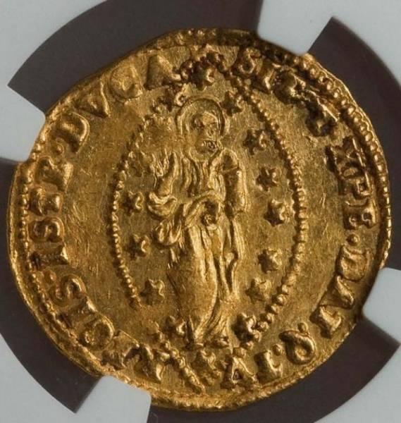 ★ 1763 -1778 イタリア ベニス ゼッキーノ 金貨 NGC MS63 アルヴィーゼ・モチェニーゴ4世 Zecchino ★_画像2