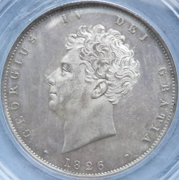 1826年 MS65 ハーフ クラウン 銀貨 ジョージ4世 イギリス CGS-UK UNC82 鑑定 完全 未使用 1/2 CROWN ESC 646 3rd ベアヘッド 無冠 紋章盾図