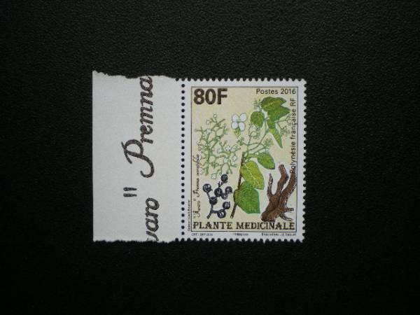 フランス領ポリネシア発行 ポリネシアの薬用植物切手 1種完 NH 未使用_画像3