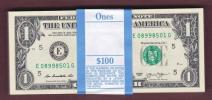 ■未使用札束■2013年アメリカ・ワシントン1ドル紙幣BEP官封帯付100枚連番(E)