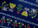 ★ヴィンテージ★★レトロ*ネイビーに小鳥やお花と人達★つばめ◇♪
