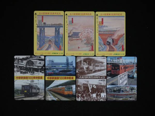 JR東日本 立川駅他 オレンジカード 1穴済 開業100周年記念