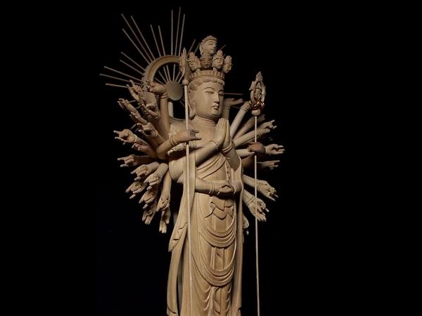 449【彫刻 木彫 千手観音 仏像】 仏教美術