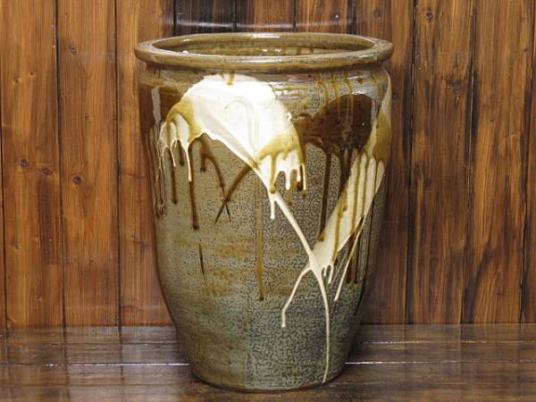 高取焼の甕 高さ46㎝ 重量10.3㎏ 傘立て めだか鉢