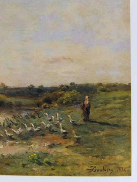 ドービニー・シャルル=フランソワ、川辺の鵞鳥の群れ、希少な画集より、新品高級額装付、状態良好、送料無料_画像2