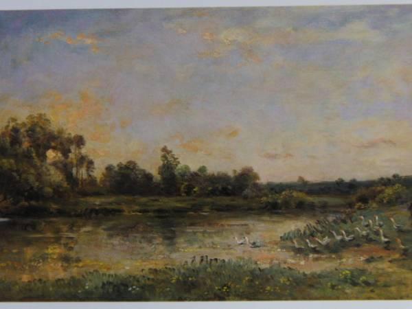 ドービニー・シャルル=フランソワ、川辺の鵞鳥の群れ、希少な画集より、新品高級額装付、状態良好、送料無料_画像1