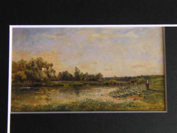 ドービニー・シャルル=フランソワ、川辺の鵞鳥の群れ、希少な画集より、新品高級額装付、状態良好、送料無料_画像3