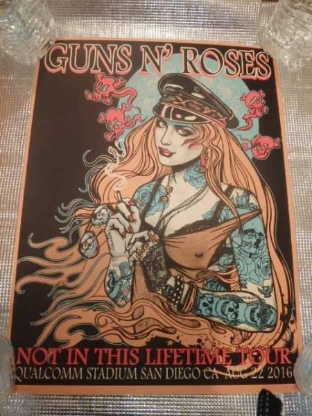 Guns N' Roses ガンズ アンド ローゼズ リトグラフ San Diego CA AUG 22 2016 限定100 by Sara Ray