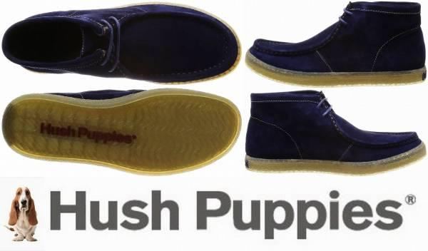ハッシュパピーHush Puppies/モカシン/ワラビーブーツ/大塚製靴製品/撥水/スエード調/軽量/US8/約25㎝/青/ネイビーブルーT3265