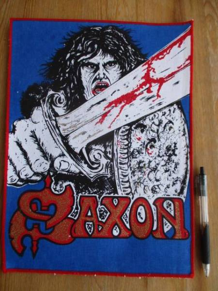 SAXON プリントバックパッチ 1st LP cover デッドストック ヴィンテージ / metallica iron maiden nwobhm