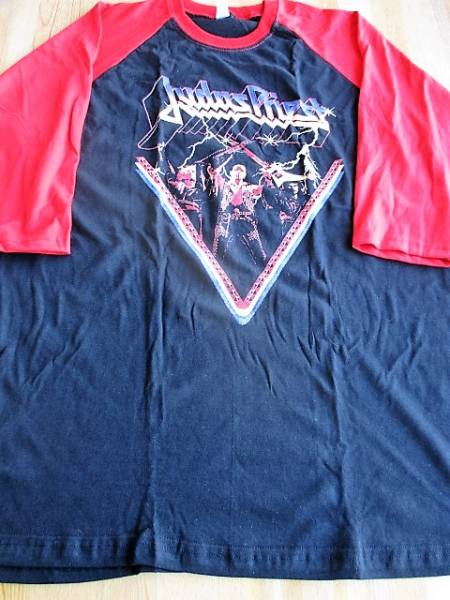 JUDAS PRIEST ラグラン 七分袖 Tシャツ 黒/赤L / accept iron maiden metallica def leppard