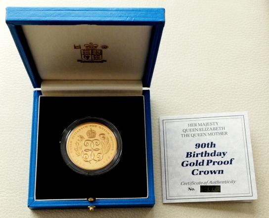 1円スタート イギリス 1990年 5ポンド金貨 エリザベス2世 王太后90歳記念_画像3
