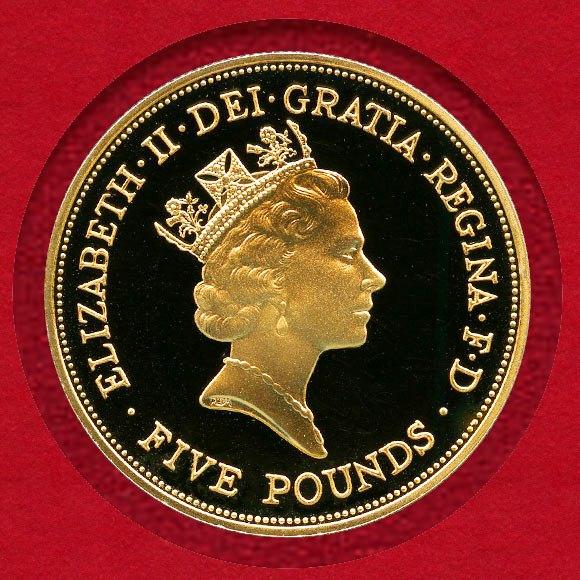 1円スタート イギリス 1990年 5ポンド金貨 エリザベス2世 王太后90歳記念_画像2