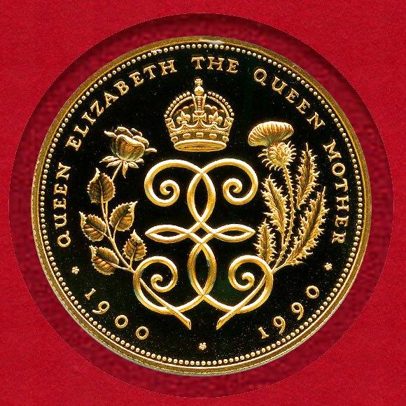 1円スタート イギリス 1990年 5ポンド金貨 エリザベス2世 王太后90歳記念