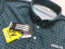 新品◆アディダス ゴルフ チェック柄 吸汗速乾 ボタンダウンシャツ★緑★サイズO
