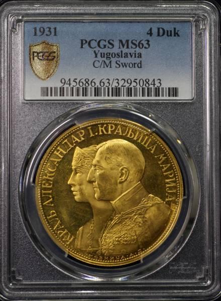 1円~PCGS MS63 ユーゴスラビア アレクサンデル1世 4ダカット金貨 1931 第2位鑑定!!_画像2