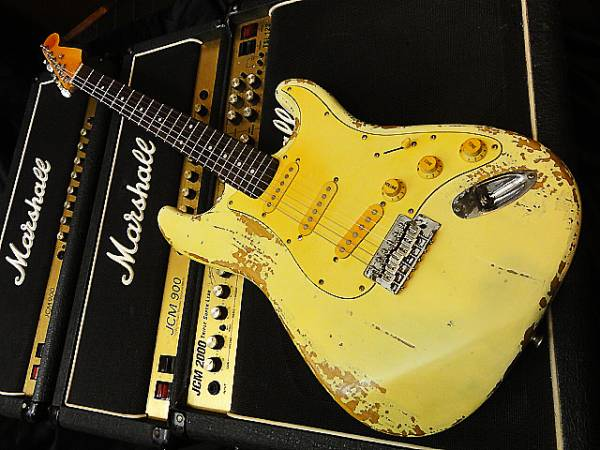 ★☆Heavilly Relic Vintage Yellow White Stratocaster USVintageパーツ使用 レリック ★☆