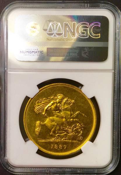 イギリス1887年ヴィクトリア5ポンド金貨NGC MS62PLプルーフライク_画像2