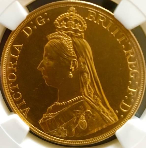 イギリス1887年ヴィクトリア5ポンド金貨NGC MS62PLプルーフライク_画像3