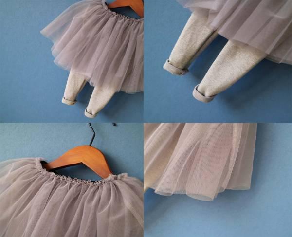 25084db8bc046 キッズ ベビー服 スカート付きレギンス チュールギャザースカート☆グレー☆春夏カジュアル