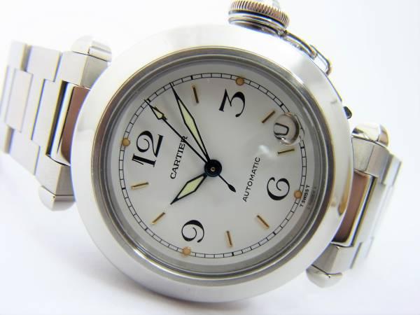 カルティエ パシャC 男女兼用モデル ボーイズ 時計 白 箱 国際保証書付き 美品