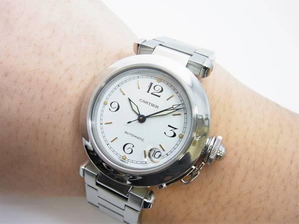 カルティエ パシャC 男女兼用モデル ボーイズ 時計 白 箱 国際保証書付き 美品_画像3