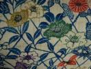 紅型 全通 名古屋帯 正絹 紬織 花模様 裏藍色