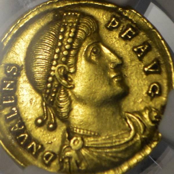 【最落なし1円~!!】古代ローマ 364年‐皇帝ウァレンス ソリドゥス金貨 NGC/ch.XF