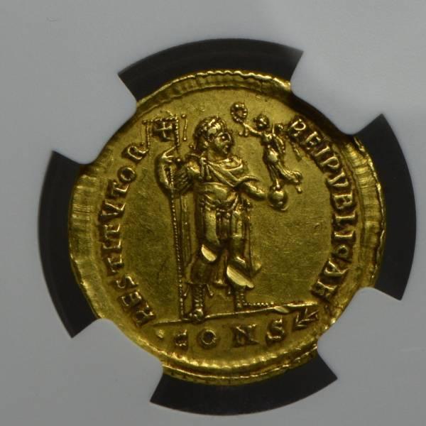 【最落なし1円~!!】古代ローマ 364年‐皇帝ウァレンス ソリドゥス金貨 NGC/ch.XF_画像3