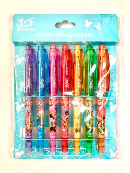 新品 東京ディズニーリゾート TDR フリクションボールペン 7本セット 30周年イベント限定デザイン ミッキー ミニー ドナルド デイジー ディズニーグッズの画像
